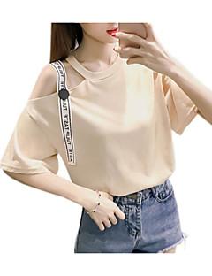 baratos Blusas Femininas-Mulheres Camiseta Básico Estampado, Sólido