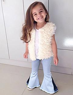 billige Bukser og leggings til piger-Farveblok Pigens Daglig I-byen-tøj Polyester Forår Sommer Kjole Sødt Gade Blå