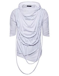 Χαμηλού Κόστους Hot White Summer-Ανδρικά T-shirt Βασικό - Βαμβάκι / Πολυεστέρας Μονόχρωμο Με Κουκούλα