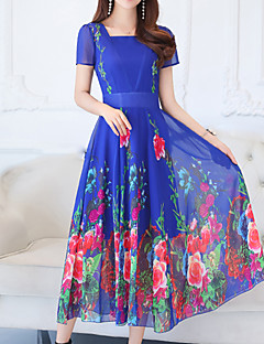 cheap Women's Dresses-Women's Plus Size Holiday Sophisticated / Boho Slim Sheath / Swing Dress - Floral Blue, Print Square Neck