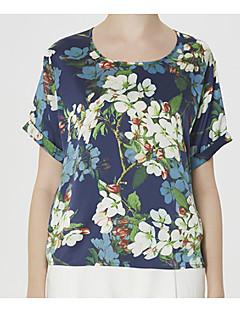 billige T-shirt-Dame-Blomstret Basale T-shirt