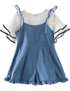 billige Tøjsæt til piger-Pige Daglig Ensfarvet Tøjsæt, Bomuld Rayon Sommer Kortærmet Basale Blå