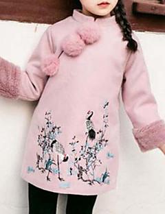 tanie Odzież dla dziewczynek-Odzież puchowa / pikowana Rayon Poliester Dla dziewczynek Codzienny Wyjściowe Haft Długi rękaw Vintage Urocza Na co dzień Blushing Pink