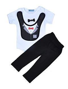 billige Tøjsæt til drenge-Drenge Daglig Ferie Stribet Trykt mønster Tøjsæt, Bomuld Polyester Forår Sommer Kortærmet Aktiv Blå Sort Lyseblå