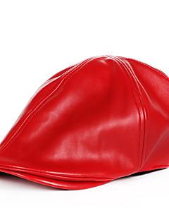 billige Hatter til damer-Unisex Grunnleggende Beret Ensfarget PU