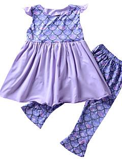 billige Sett med babyklær-Baby Pige Geometrisk Uden ærmer Tøjsæt