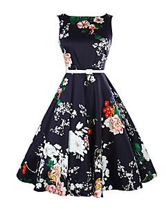 billige Vintage-dronning-Dame Vintage Swing Kjole - Blomstret Midi
