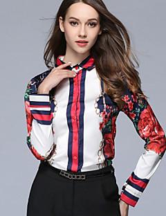billige Skjorte-Dame - Blomstret Trykt mønster Forretning Gade Skjorte