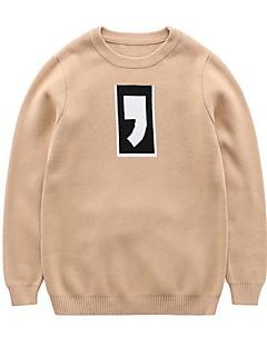 billige Sweaters og cardigans til drenge-Drenge Trøje og cardigan Ensfarvet, Bomuld Forår Efterår Langærmet Simple Sødt Aktiv Grå Kakifarvet
