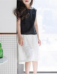 tanie Odzież dla dziewczynek-Tanktop / koszulka na ramiączkach Bawełna Dla dziewczynek Jendolity kolor Lato Krótki rękaw Black