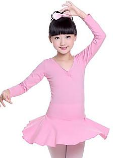 tanie Stroje baletowe-Balet Suknie Dla dziewczynek Szkolenie Wydajność Bawełna Bow Satin Długi rękaw Naturalny Ubierać