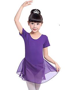 tanie Stroje baletowe-Balet Suknie Dla dziewczynek Szkolenie Wydajność Bawełna Bow Satin Krótki rękaw Naturalny Ubierać
