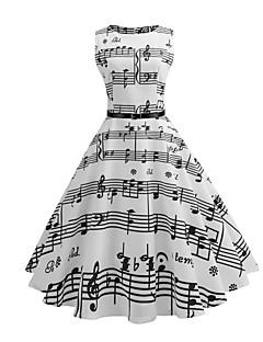 billige Damemode og tøj-Dame Vintage Tynd A-linje Kjole - Geometrisk Midi Hvid