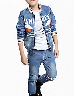 billige Tøjsæt til drenge-Drenge Jeans Tøjsæt Daglig Bomuld Forår Efterår Alle årstider Langærmet Blomster Orange Grøn
