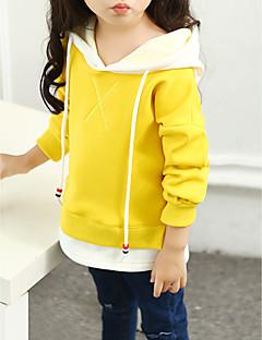 tanie Odzież dla dziewczynek-Bluza z kapturem / bluza Bawełna Dla dziewczynek Jendolity kolor Litera Wiosna Jesień Długi rękaw Na co dzień Aktywny Clover Black Yellow