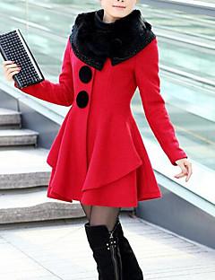 Χαμηλού Κόστους -Γυναικεία Γούνινο παλτό Απλός / Καθημερινό - Μονόχρωμο Βαμβάκι