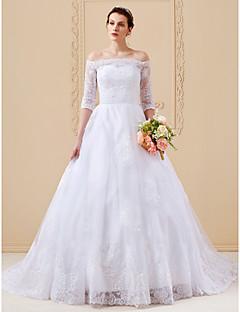 billiga Balbrudklänningar-A-linje / Prinsessa Off shoulder Katedralsläp Spets på tyll Bröllopsklänningar tillverkade med Applikationsbroderi av LAN TING BRIDE®