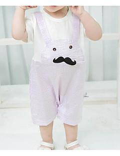 billige Babytøj-Baby Unisex Ensfarvet Trykt mønster Kort Ærme En del