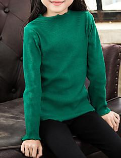billige Sweaters og cardigans til piger-Pige Trøje og cardigan Ensfarvet, Bomuld Vinter Grøn Lyserød Gul