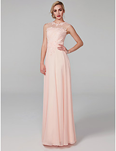 저렴한 특별한 이벤트 드레스-A-라인 환상 목걸이 바닥 길이 쉬폰 / 레이스 보디스 댄스 파티 / 포멀 이브닝 드레스 와 아플리케 으로 TS Couture®
