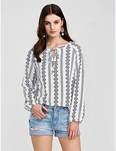 baratos Blusas Femininas-luva da lanterna das mulheres camisa solta impressão em torno do pescoço