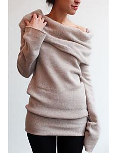 tanie Swetry damskie-Damskie Moda miejska Z odsłoniętymi ramionami Luźna Pulower Jendolity kolor Długi rękaw / Wiosna
