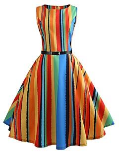 billige Vintage-dronning-Dame Vintage Swing Kjole - Regnbue, Trykt mønster Knælang