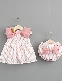 billige Sett med babyklær-Baby Pige Prikker Uden ærmer Bomuld Tøjsæt