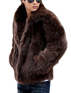 cheap Fur Coat-Men's Weekend Classical Faux Fur Fur Coat-Solid Color