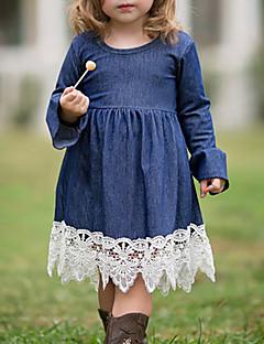 billige Pigekjoler-Pigens Kjole Daglig I-byen-tøj Ensfarvet Patchwork, Nylon Forår Sommer Langærmet Simple Boheme Marineblå