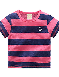 billige Overdele til drenge-Drenge Daglig Ferie Ensfarvet Stribet T-shirt, Bomuld Sommer Kortærmet Basale Hvid Navyblå Lilla Lyseblå