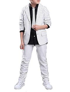 billige Tøjsæt til drenge-Drenge Tøjsæt Daglig Skole Ensfarvet Stribet Trykt mønster,Bomuld Polyester Forår Efterår Langt Ærme Afslappet Gade Hvid Sort