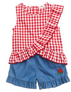 billige Sett med babyklær-Baby Pige Ternet Uden ærmer Tøjsæt