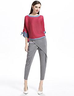 billige Dametopper-T-skjorte Dame-Fargeblokk,Flettet Grunnleggende