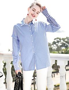 billige Dametopper-Bomull Løstsittende Skjortekrage Skjorte Dame - Stripet Grunnleggende