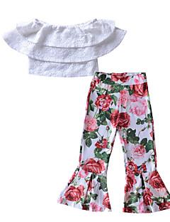 billige Tøjsæt til piger-Pige I-byen-tøj Ferie Ensfarvet Blomstret Tøjsæt, Rayon Polyester Forår Sommer Kortærmet Gade Boheme Hvid