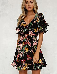 cheap Women's Dresses-Women's Simple Flare Sleeve Sheath Dress - Floral, Print