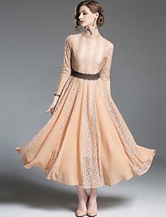 billige Damekjoler-Dame Vintage Gatemote A-linje Swing Kjole - Ensfarget, Blonde Maksi