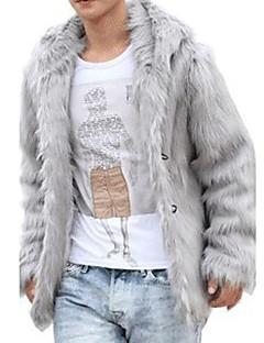 Χαμηλού Κόστους Ανδρικά μπουφάν και παλτό-Ανδρικά Κανονικό Γούνινο παλτό Γραφείο/Καριέρα Γαμήλια Τελετή Σκηνή Επίσημο Πρωτοχρονιά Κομψό & Πολυτελές Συμπαγές Χρώμα Χειμώνας Δ/Υ