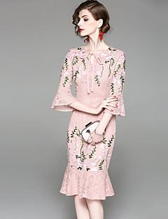 Χαμηλού Κόστους EWUS-Γυναικεία Αργίες / Εξόδου Βασικό Flare μανίκι Λεπτό Εφαρμοστό Φόρεμα - Φλοράλ, Δαντέλα / Κεντητό Μίντι / Sexy