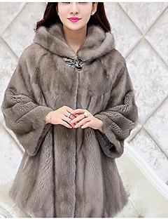 Χαμηλού Κόστους -Γυναικεία Γούνινο παλτό Βασικό - Μονόχρωμο Φαρδιά