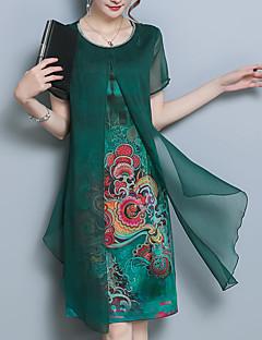 billige Kjoler-Dame Plusstørrelser I-byen-tøj Sofistikerede Gade Løstsiddende Chiffon Kjole - Blomstret, Trykt mønster Knælang