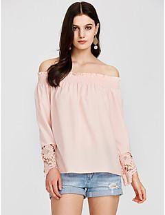 billige Overdele til damer-Bateau-hals Løstsiddende Dame - Ensfarvet T-shirt Polyester