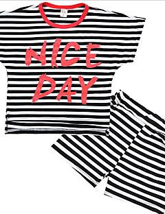 tanie Odzież dla chłopców-Dla chłopców Codzienny Prążki Komplet odzieży, Poliester Lato Krótki rękaw Podstawowy Black