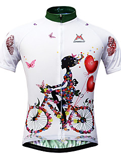 cheap Cycling Jerseys-Mysenlan Women's Short Sleeves Cycling Jersey - White Floral / Botanical Bike Jersey, Quick Dry, Ultraviolet Resistant, Breathable,