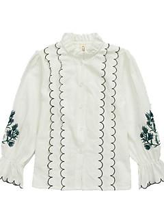 billige Pigetoppe-Pige Daglig Skole Ensfarvet Skjorte, Bomuld Polyester Forår Efterår Langærmet Sødt Basale Hvid