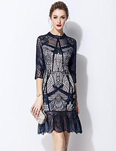 Χαμηλού Κόστους MARCOBOR-Γυναικεία Βασικό Εφαρμοστό Φόρεμα - Μονόχρωμο Φλοράλ Πάνω από το Γόνατο
