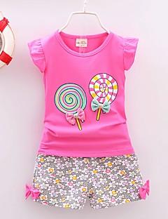 billige Tøjsæt til piger-Pige Daglig Ferie Blomstret Tøjsæt, Bomuld Akryl Forår Sommer Uden ærmer Vintage Sødt Lyserød Gul Rosa