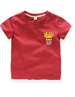 tanie Odzież dla chłopców-Dla chłopców Codzienny Urlop Nadruk T-shirt, Bawełna Poliester Lato Krótki rękaw Aktywny Podstawowy Black Wine