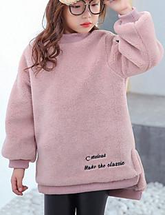 billige Hættetrøjer og sweatshirts til piger-Pige Hættetrøje og sweatshirt Ensfarvet, Bomuld Vinter Efterår Langærmet Simple Lyserød Kamel